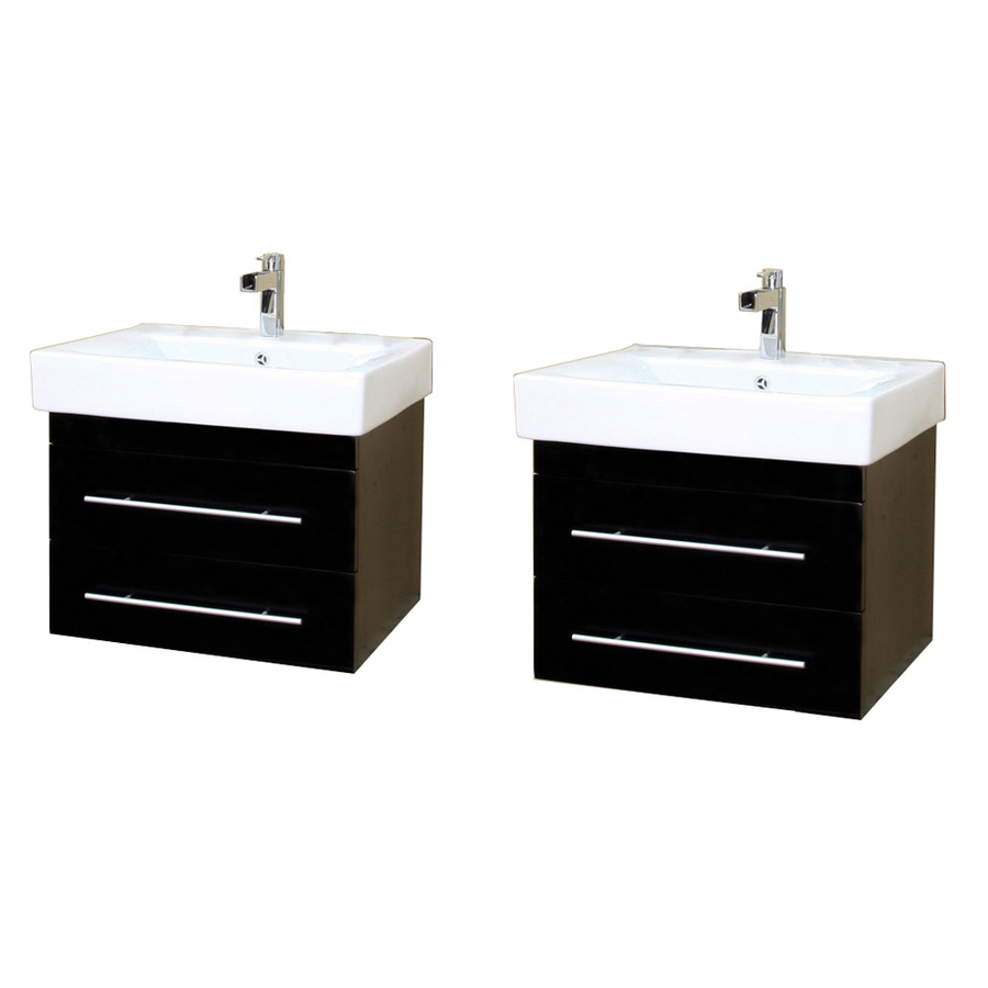 Shop Bellaterra Home Black Integral Double Sink Birch Bathroom Vanity With Vitreous China Top
