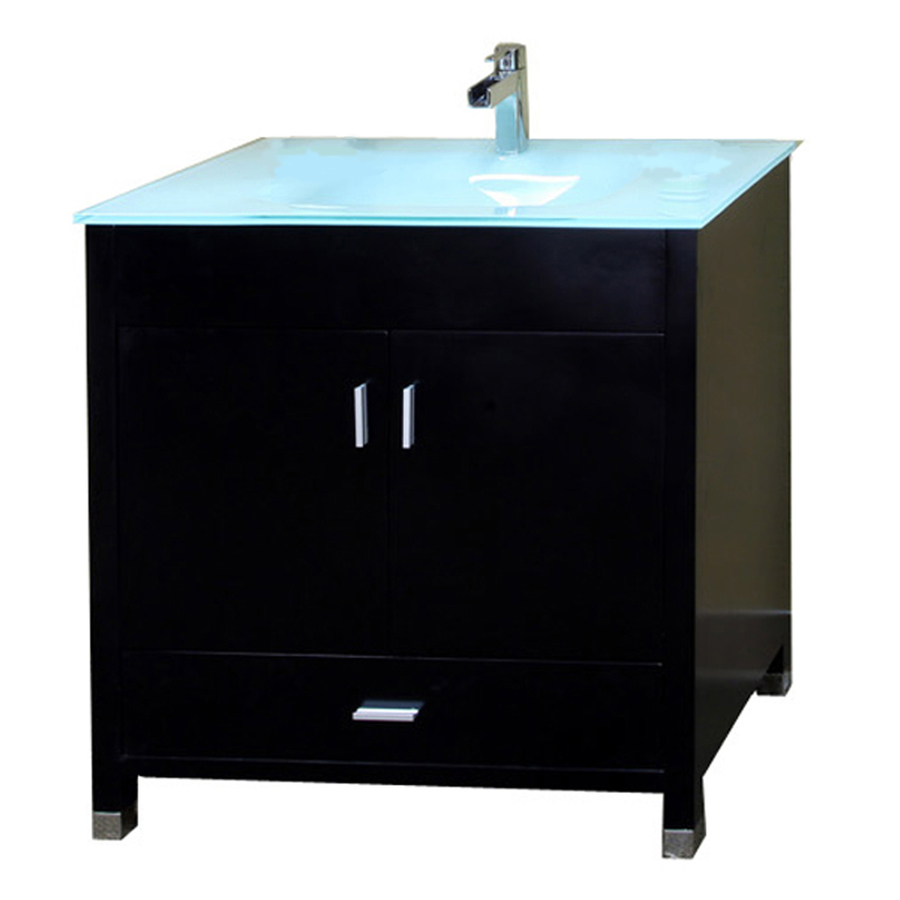 Shop Bellaterra Home Black Integral Single Sink Bathroom Vanity With Tempered