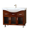 Bellaterra Home Medium Walnut Integral Single Sink Birch Bathroom Vanity with Vitreous China Top (Common: 39-in x 18-in; Actual: 39.8-in x 18.5-in)