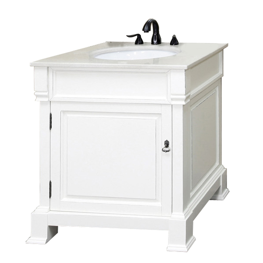 Shop Bellaterra Home White Rub Edge Undermount Single Sink Bathroom Vanity With Natural Marble