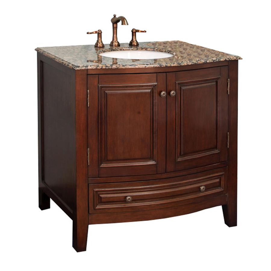 Shop Bellaterra Home Dark Walnut Undermount Single Sink Bathroom Vanity With Natural Marble Top