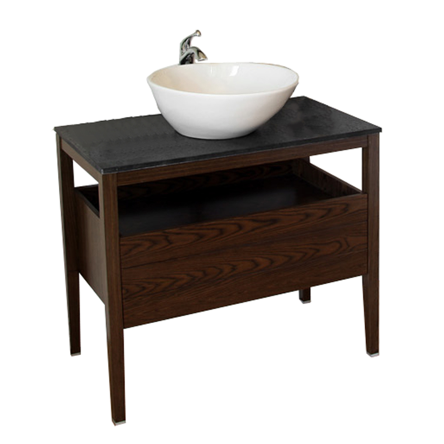 Shop Bellaterra Home Dark Walnut Vessel Single Sink Bathroom Vanity With Gran
