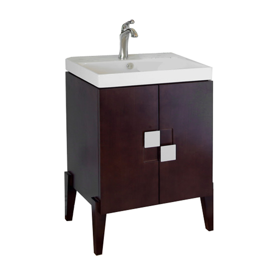 shop bellaterra home walnut belly bowl single sink bathroom vanity
