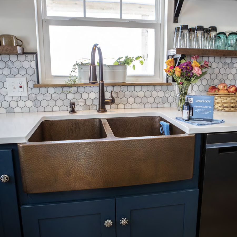 Shop renovations by thompson traders 14 gauge double basin - Copper drop in kitchen sink ...