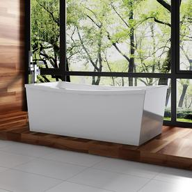 Ove Decors 70-in L x 34-in W x 24-in H Gloss White Acrylic Rectangular Pedestal Bathtub with Back Center Drain