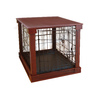 Merry Pet 3.7-ft x 2.5-ft x 2.62-ft Solid Wood Veneer Walnut Finish Collapsible Plastic and Wire Pet Crate