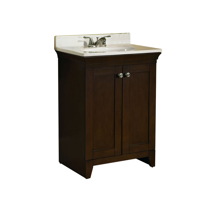 Shop allen roth sycamore nutmeg integral single sink poplar bathroom vanity with cultured Lowes bathroom vanity and sink