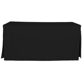 tablevogue Fitted Indoor/Outdoor Black Table Cover for 6-ft Rectangle Table