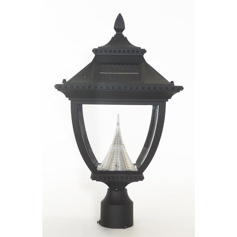 shop gama sonic pagoda 23 in h black solar led post light at. Black Bedroom Furniture Sets. Home Design Ideas