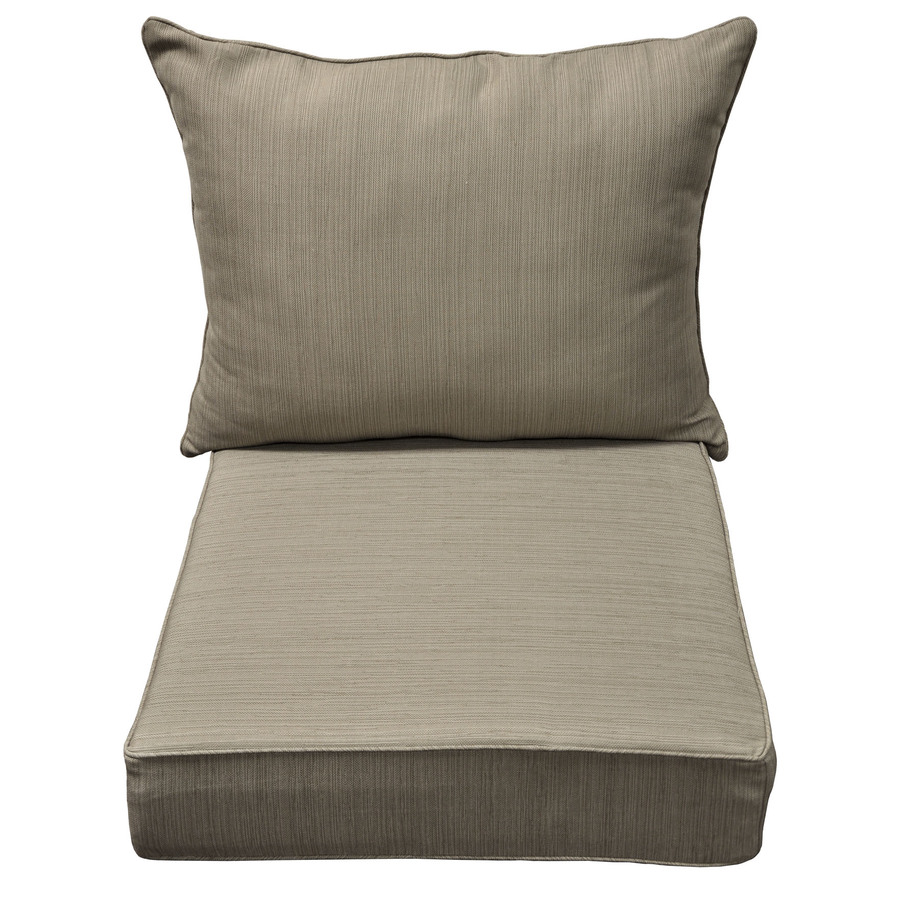 Shop allen roth brown tan dining patio chair cushion at for Patio furniture cushions