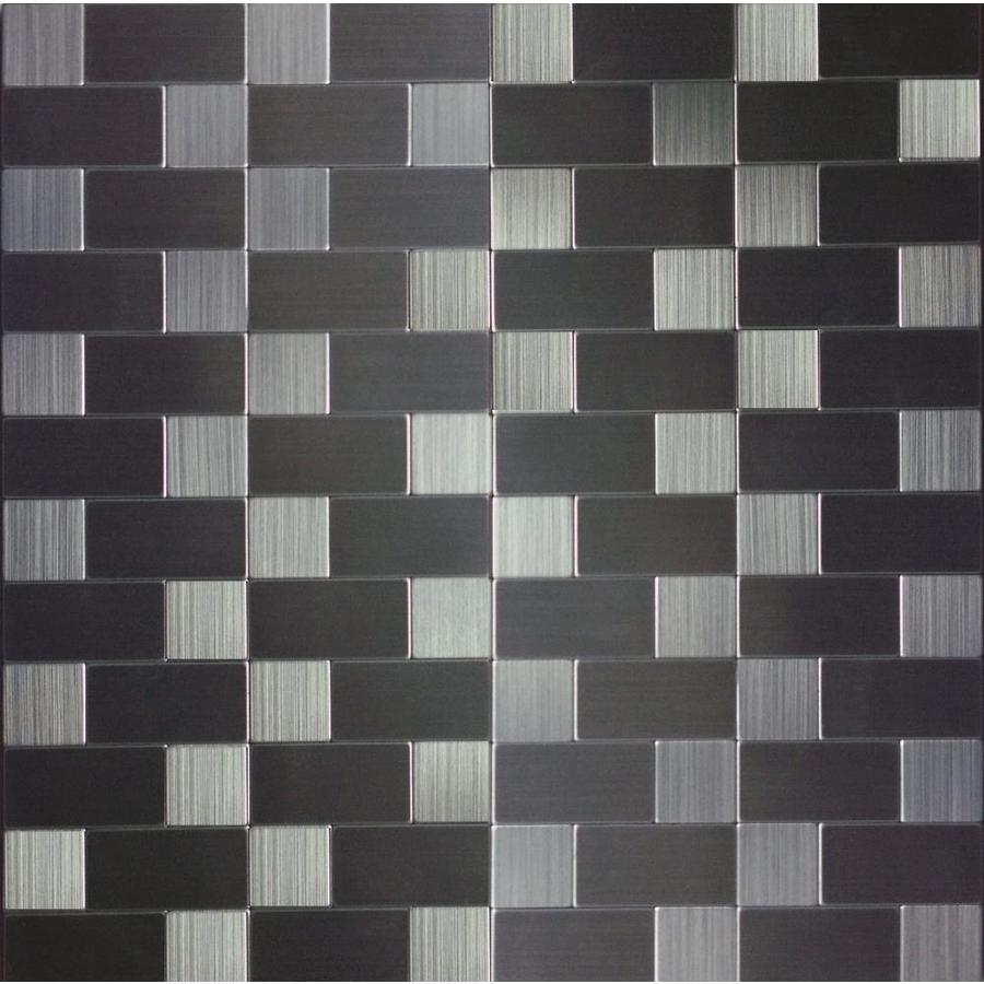 Shop instant mosaic 2012 stainless steel color metal for Stainless steel subway tile backsplash peel and stick