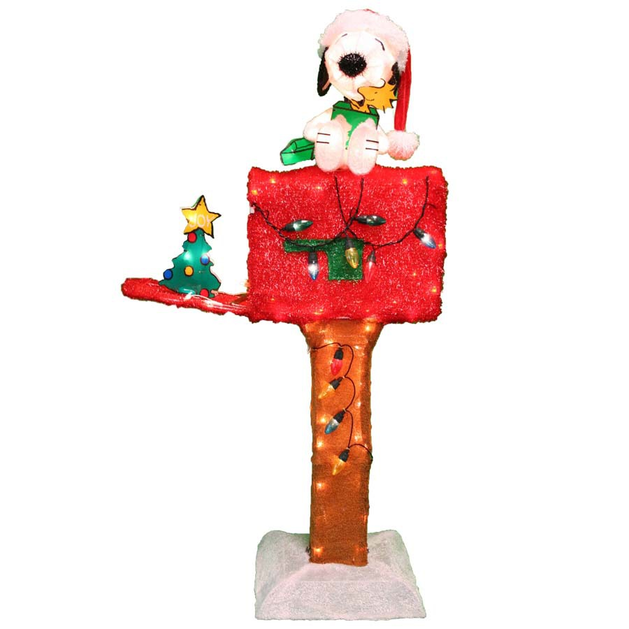 snoopy mailbox christmas decoration - Outdoor Tinsel Christmas Decorations
