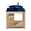 Bionic Cappuccino 31-in x 22-in Light Bamboo Single Sink Bathroom Vanity with Tempered Glass Top (Faucet Included)