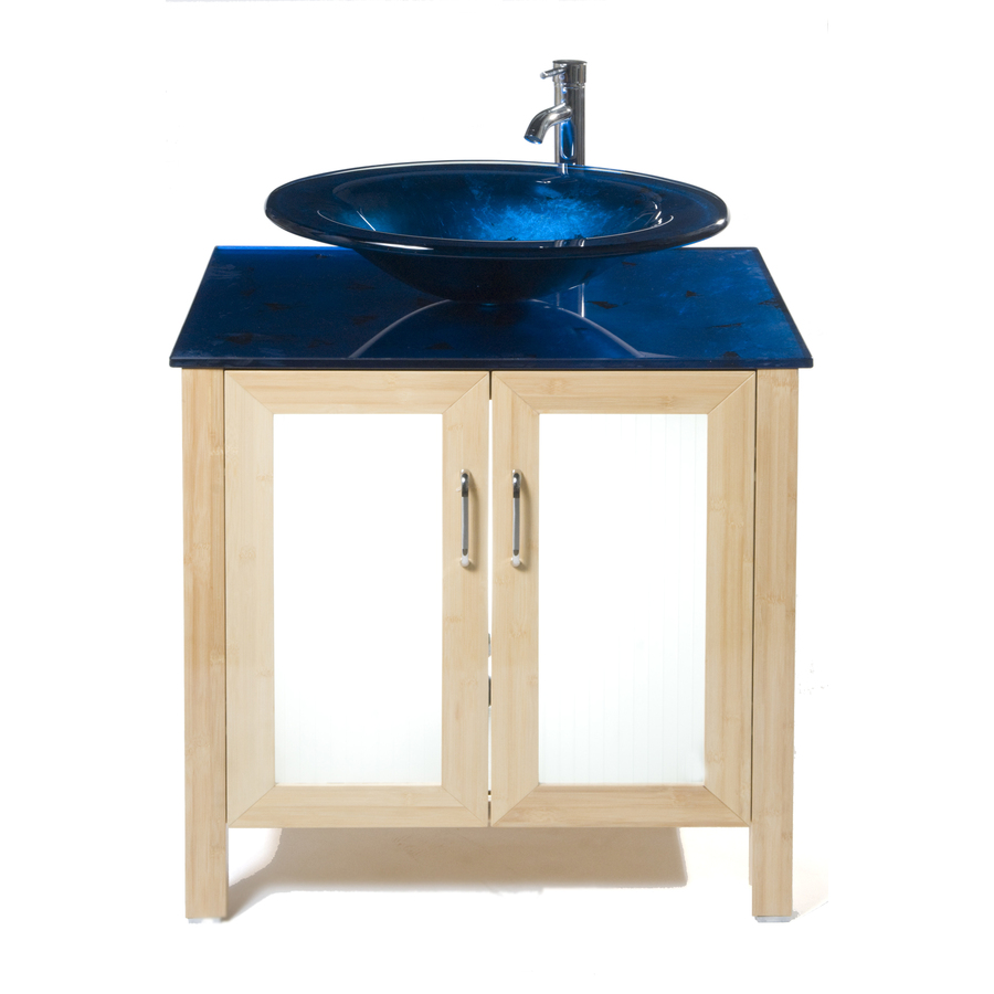 Shop Bionic Waterhouse 31-in x 22-in Light Bamboo Single Sink Bathroom Vanity with Tempered ...