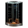 Northeastern Bath Black Tempered Glass Wall Acrylic Floor Round Steam 10-Piece Corner Shower Kit (Actual: 41-in x 88-in x 48-in)