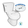 Penguin Toilets White 1.28 GPF High Efficiency WaterSense Round 2-Piece Toilet with Overflow Protection