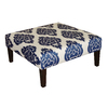 Skyline Furniture Fullerton Collection Blue Square Ottoman