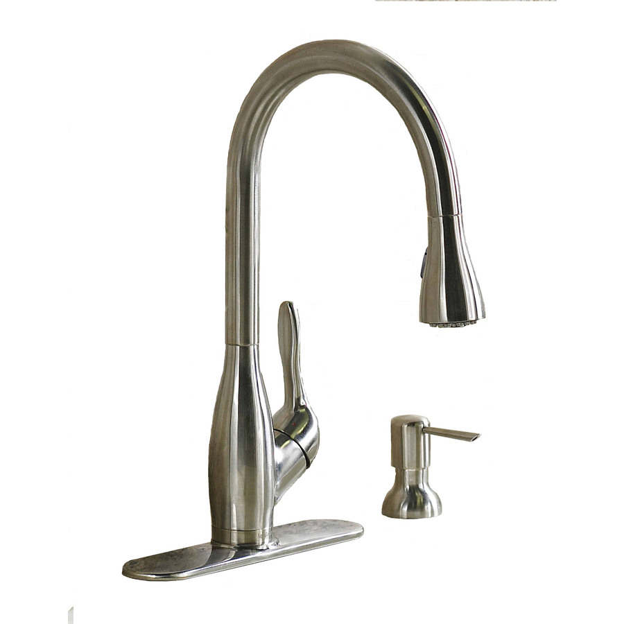 Shop aquasource stainless steel pull down kitchen faucet - Lowes kitchen sink faucet ...