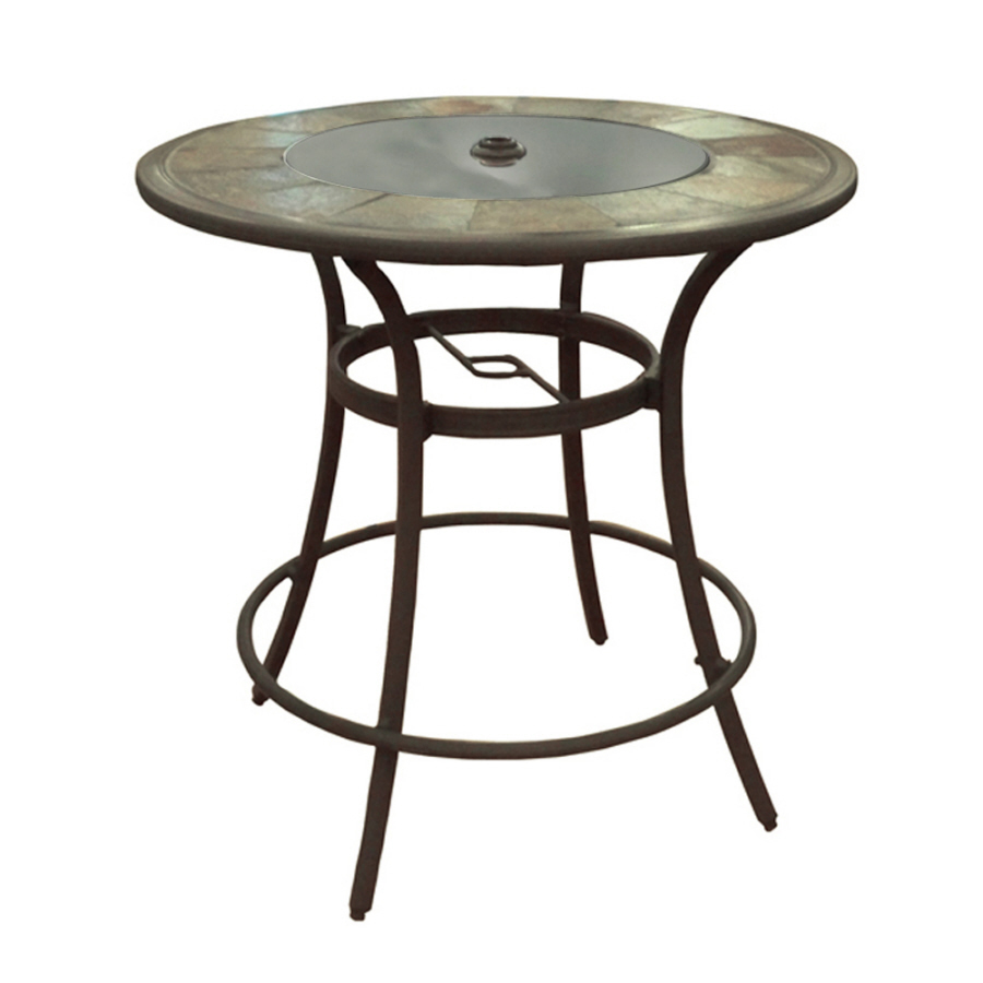 aluminum frame stone top round patio bar height table at