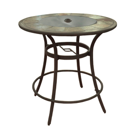 allen + roth Safford 40-in Round Stone Patio Bar-Height Table