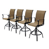 allen + roth Set of 4 Safford Swivel Sling Cast Aluminum Patio Bar-Height Chair