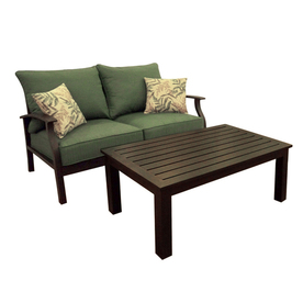 allen + roth 2-Piece Eastfield Aluminum Patio Loveseat and Coffee Table Set with Textured Green Cushions
