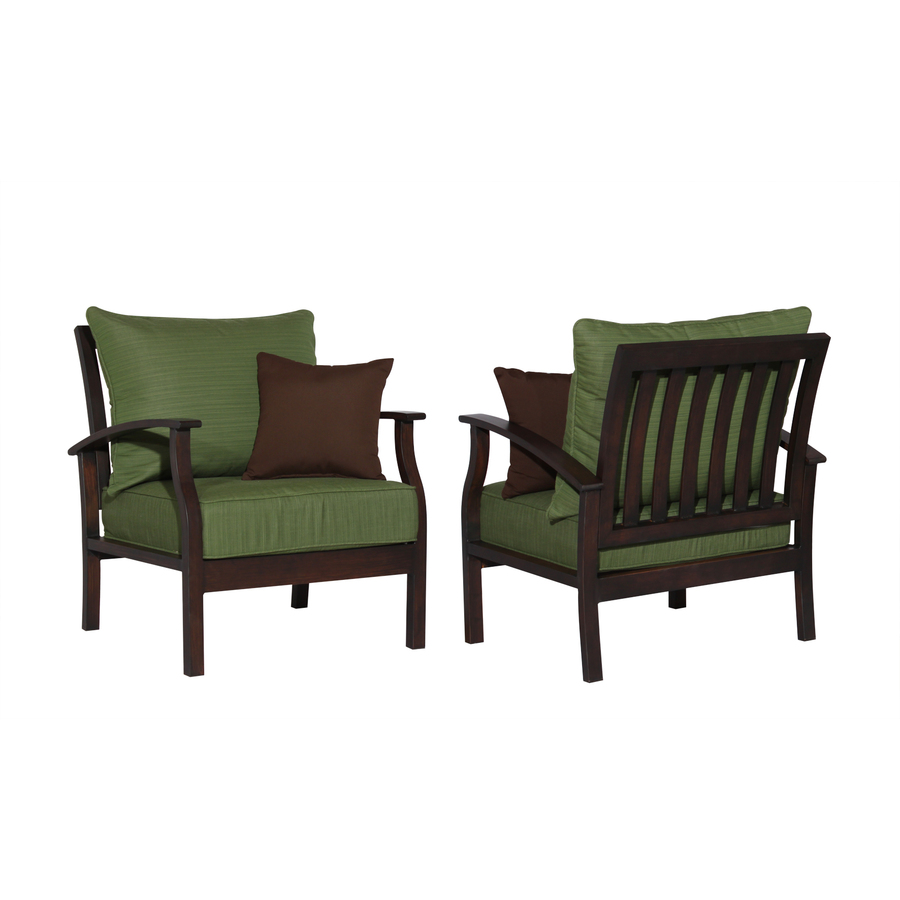 Shop Allen Roth Set Of 2 Eastfield Aluminum Patio Chairs With Solid Green Cushions At