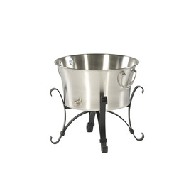 Garden Treasures 4-Gallon Garden Treasure Silver and Black Stainless Steel Ice Bucket
