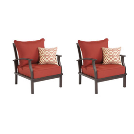 allen + roth Set of 2 Gatewood Cast Aluminum Patio Chairs with Solid Red Cushion