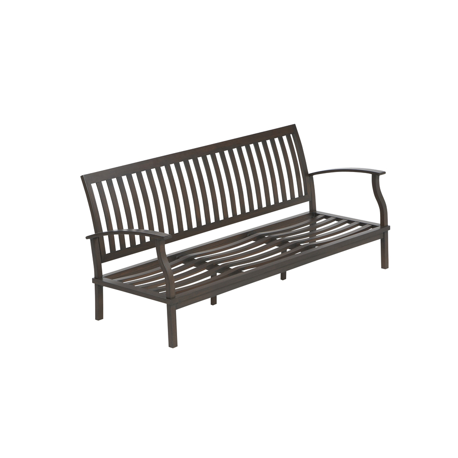 Shop Allen Roth Gatewood Brown Aluminum Slat Seat Patio Sofa At