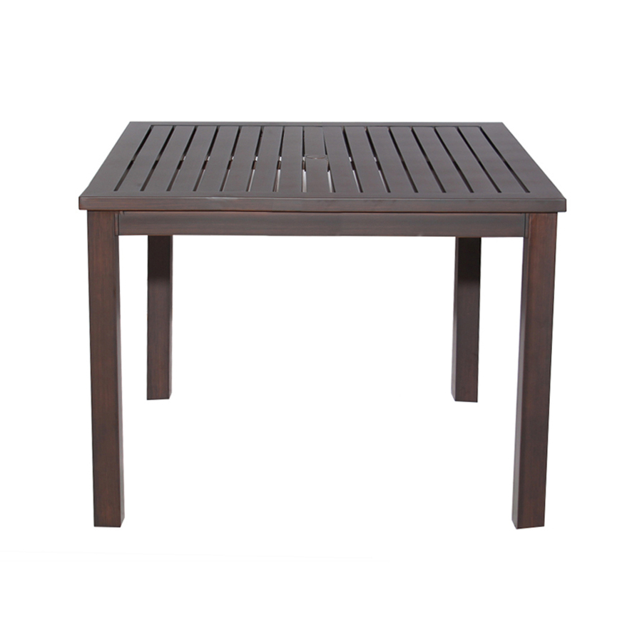 Extruded Aluminum Top Brown Square Patio Dining Table At