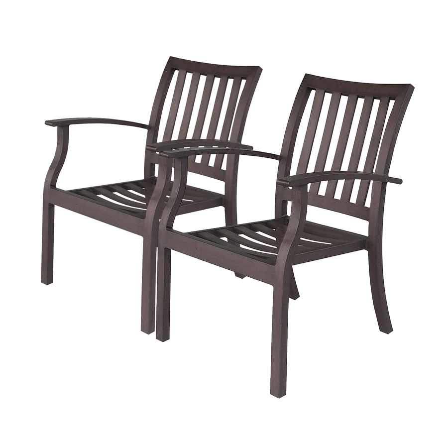brown slat seat aluminum stackable patio dining chairs at