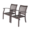 allen + roth Set Of 2 Gatewood Brown Slat Seat Aluminum Stackable Patio Dining Chairs