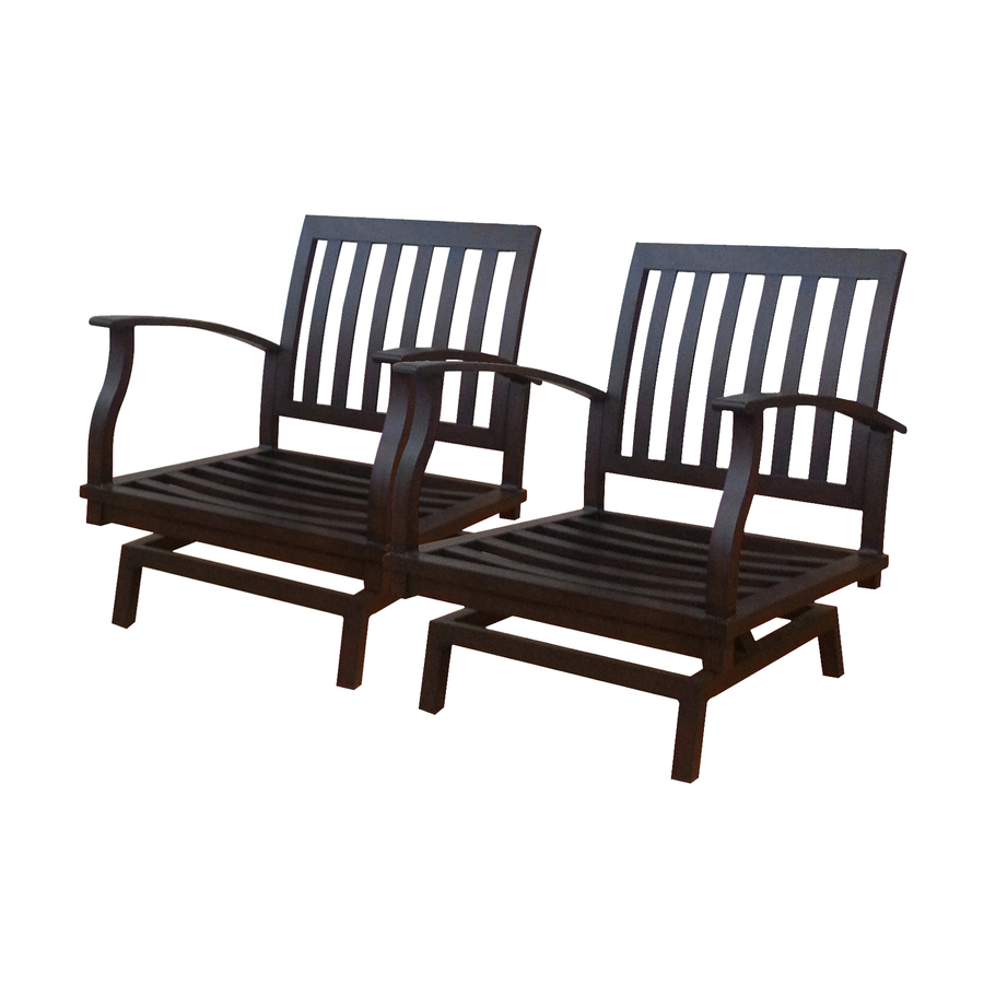 Shop Allen Roth Set Of 2 Gatewood Brown Aluminum Slat Patio Spring Motion At