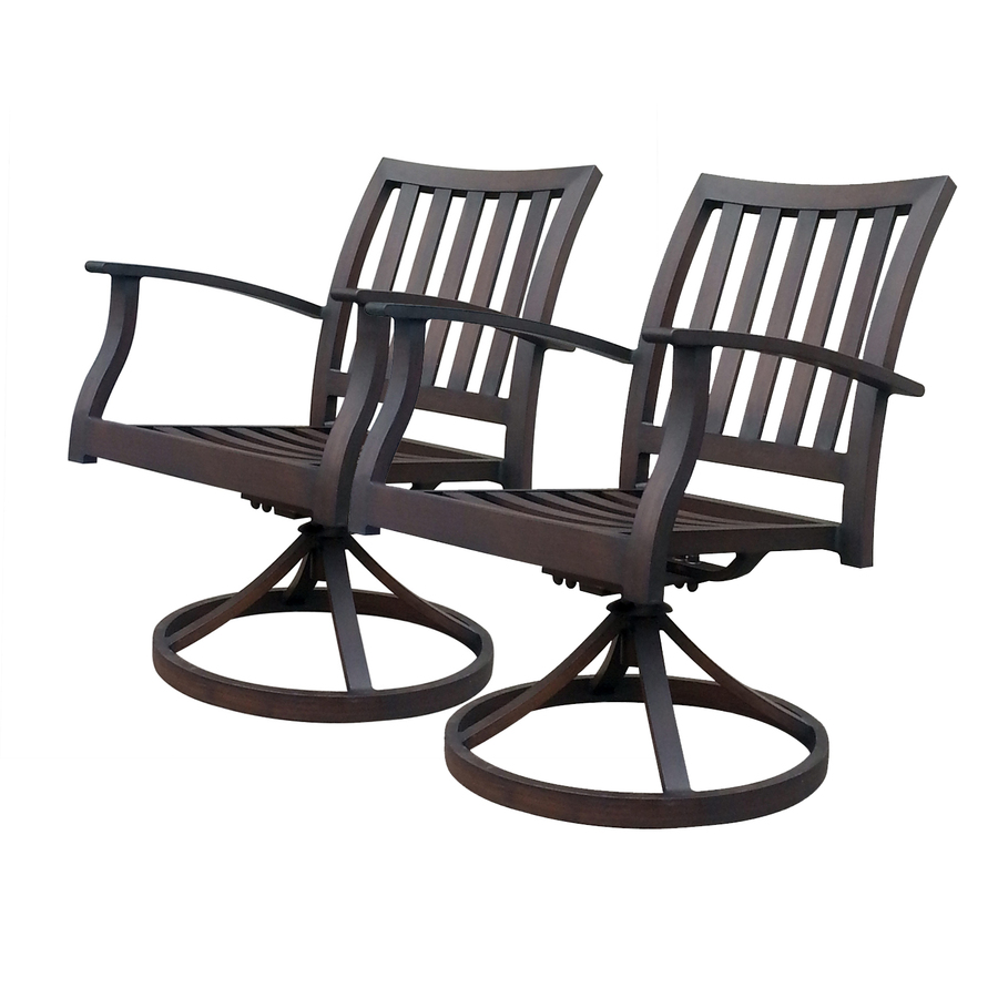 Shop allen roth Set 2 Gatewood Brown Slat Seat Aluminum Swivel Rocker Pa