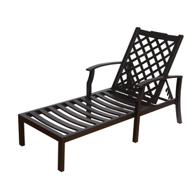 Shop allen roth carrinbridge black aluminum patio chaise for Black metal chaise lounge outdoor