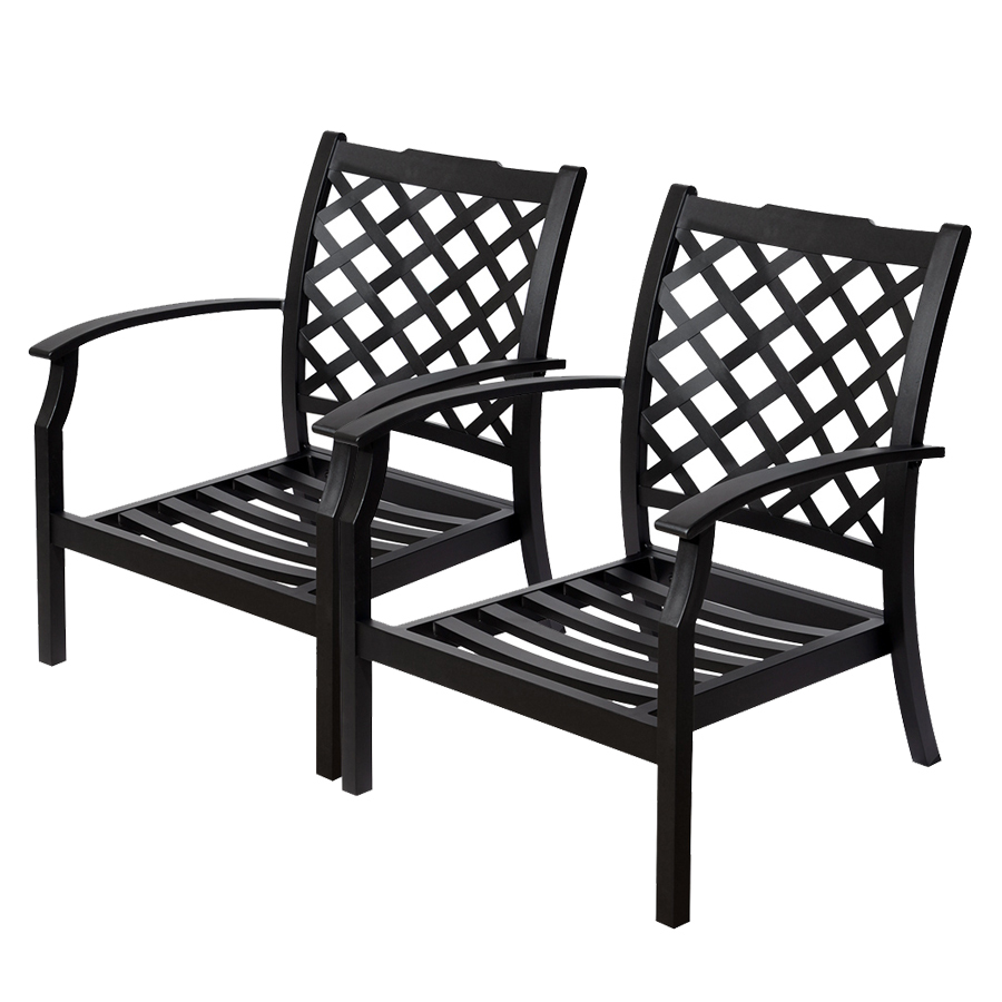 Black metal patio chairs image for Black porch furniture