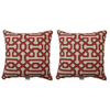 Sunbrella 2-Pack Fretwork Papaya Geometric Square Throw Outdoor Decorative Pillow