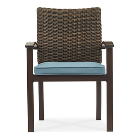 allen roth atworth 4 count brown aluminum patio dining chair with peacockblue cushion