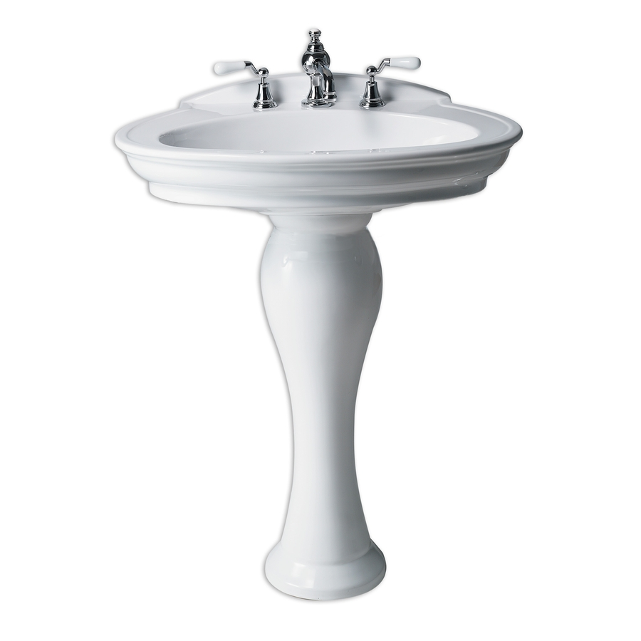 35 25 In H White Vitreous China Complete Pedestal Sink At Lowes