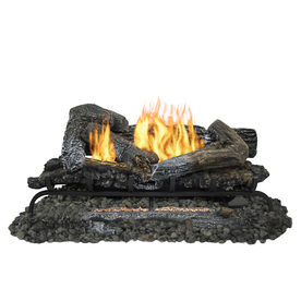 Shop Pleasant Hearth 30 In 33 000 Btu Dual Burner Vent Free Gas Fireplace Logs With Thermostat