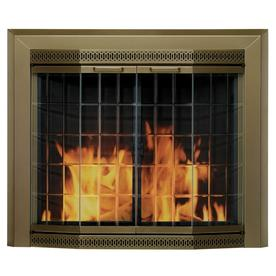 Pleasant Hearth Grandior Bay Antique Brass Large Bi-Fold Bay Fireplace Doors with Clear Tempered Glass