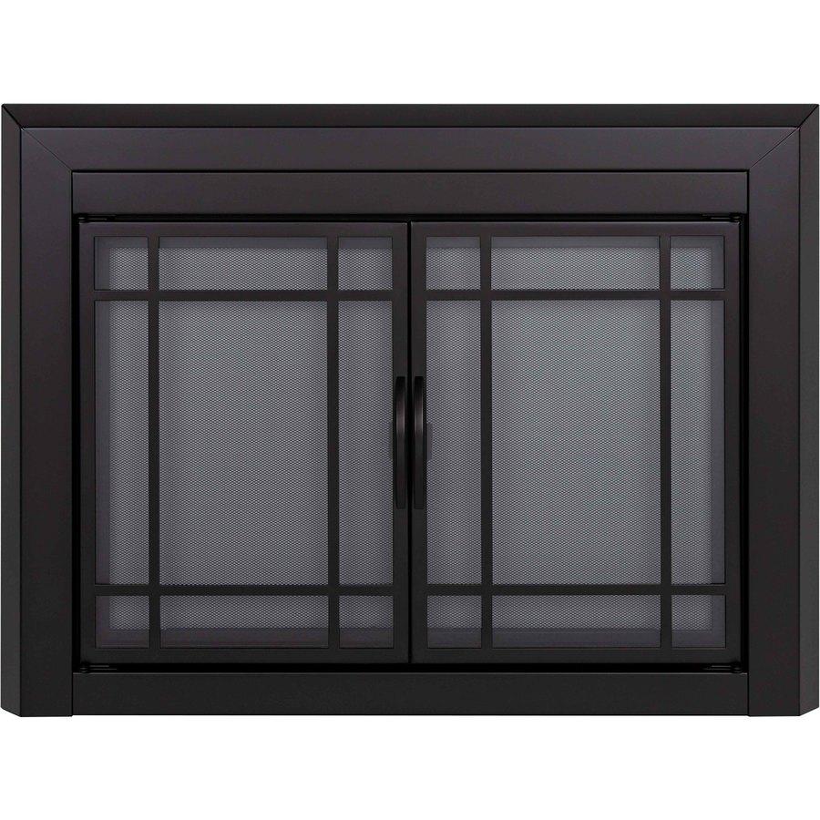 Shop pleasant hearth easton black small cabinet style for Black glass kitchen cabinets