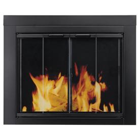Pleasant Hearth Ascot Black Medium Bi-Fold Fireplace Doors with Clear Tempered Glass