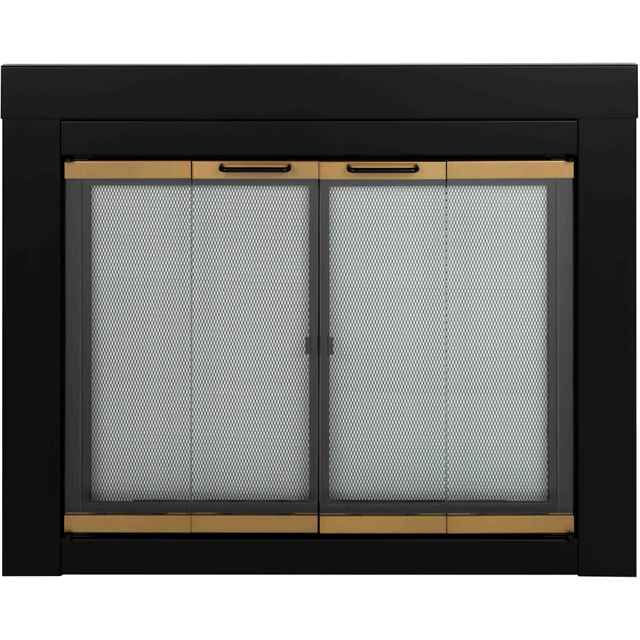 Shop Pleasant Hearth Arrington Black With Moonlight Gold Trim Medium Bifold Fireplace Doors With