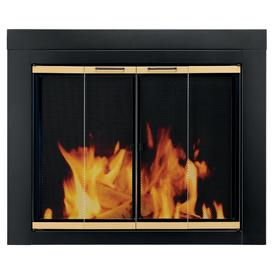 Pleasant Hearth Arrington Black with Moonlight Gold Trim Medium Bifold Fireplace Doors with Clear Tempered Glass