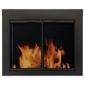 Pleasant Hearth Alpine Black Large Cabinet-Style Fireplace Doors with Clear Tempered Glass