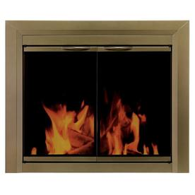 Pleasant Hearth Cahill Antique Brass Large Cabinet-Style Fireplace Doors with Smoke Tempered Glass