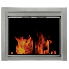 Pleasant Hearth Colby Sunlight Nickel Small Cabinet-Style Fireplace Doors with Smoke Tempered Glass