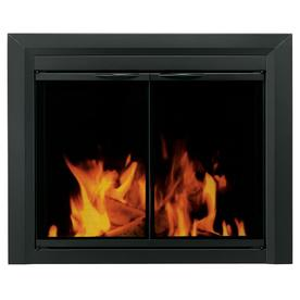 Pleasant Hearth Carlisle Black Small Cabinet-Style Fireplace Doors with Smoke Tempered Glass